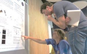 """Melanie Ostermann presenting her poster on: """"Nanotoxicity screening using impedance-based flow cytometry"""""""