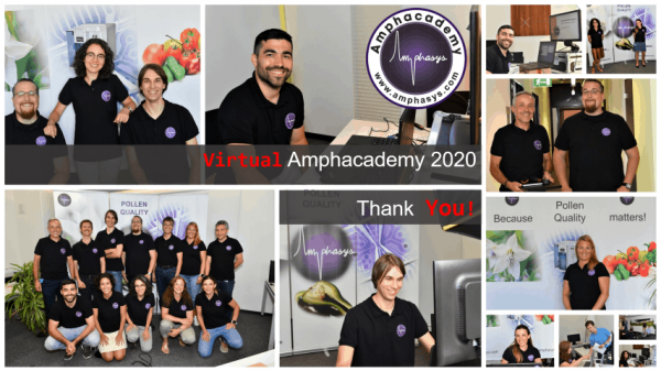 A collage of pictures taken during the virtual Amphacademy